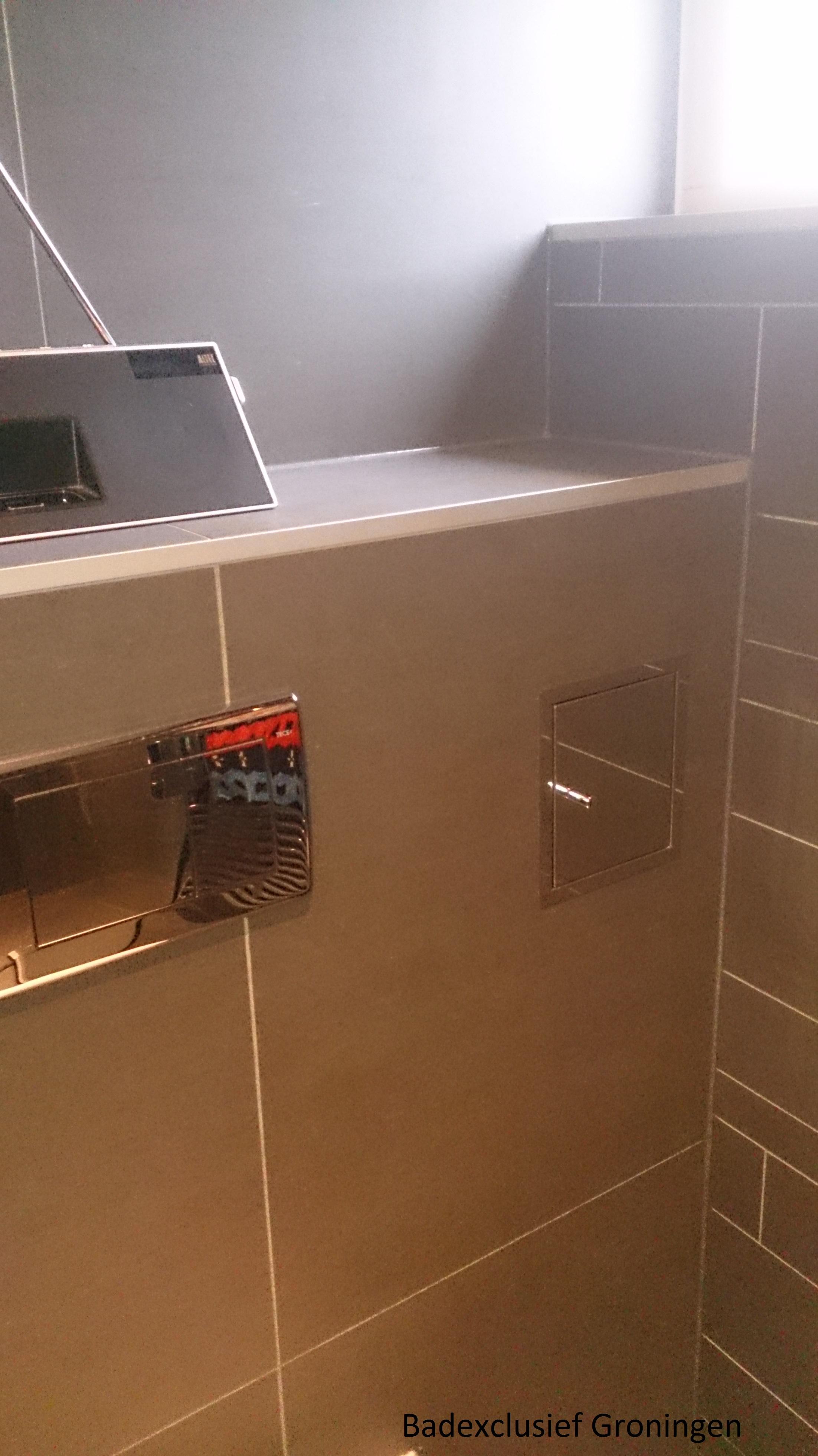 luxe badkamer van badkamerarchitect Badexclusief uit Groningen voor luxe wandclosetten en Tece-inbouwspoelunits en planus revisieplaten in rvs.