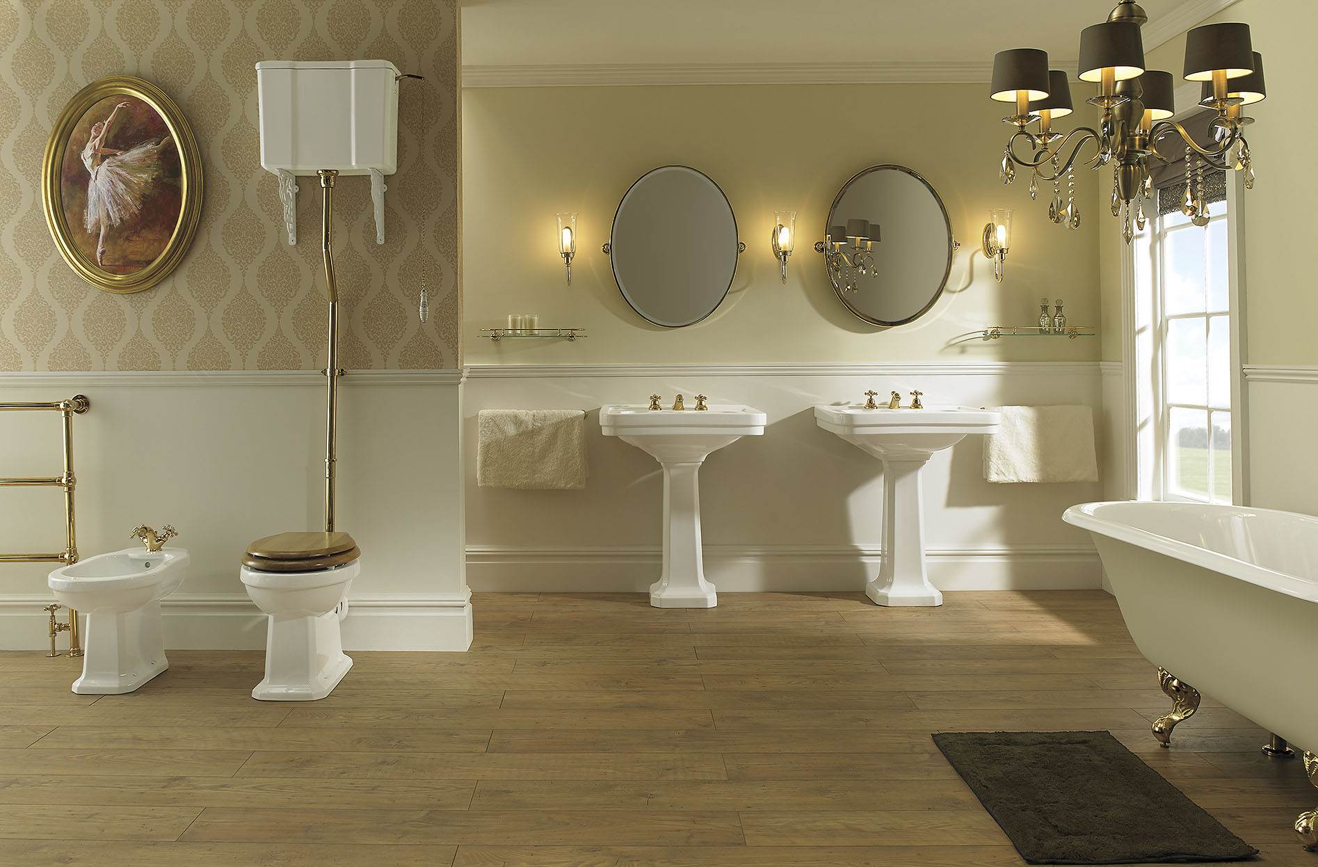imperial-bathrooms Badexclusief Groningen met luxe klassiek sanitair chelsea met gouden kranen.