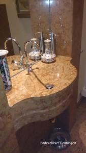 Penthouse-oosterkade, ontwerp , luxe marmer waskom met THG-Paris kwaliteit kranen.